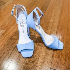 Chinese Laundry Light Blue Suede Ankle Strap Heels
